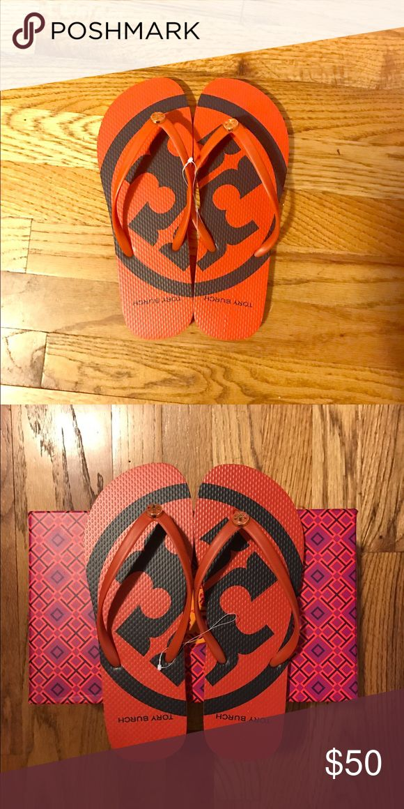 Tory Orange Flip Flops Get rid of your boring black flip flops and get a burst of orange 🍊 for the summer. Also available in size 7. Tory Burch Shoes Sandals