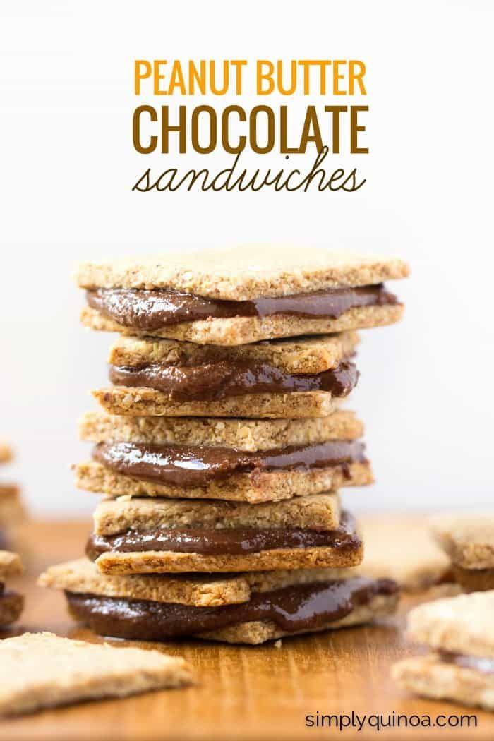 Peanut Butter Quinoa Crackers + Homemade Nutella Sandwiches - almond,  oat flour,  quinoa flakes healthy, decadent and gluten-free!