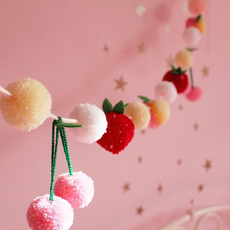 Peaches and Cream Yarn Pom Pom Garland, wreath, bunting, Delicate Pastel, strawberries by FrillyPops on Etsy https://www.etsy.com/listing/180677099/peaches-and-cream-yarn-pom-pom-garland