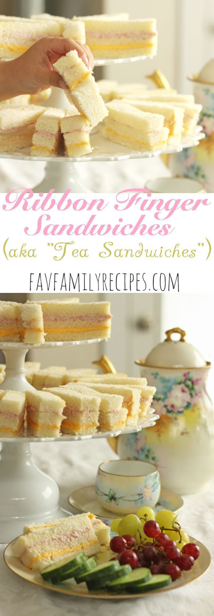 """These ribbon finger sandwiches (aka """"Tea Sandwiches"""") are perfect for baby/bridal showers, receptions, tea parties, luncheons, or birthday parties. So easy to make and tasty too! Find all our yummy pins at https://www.pinterest.com/favfamilyrecipz/"""