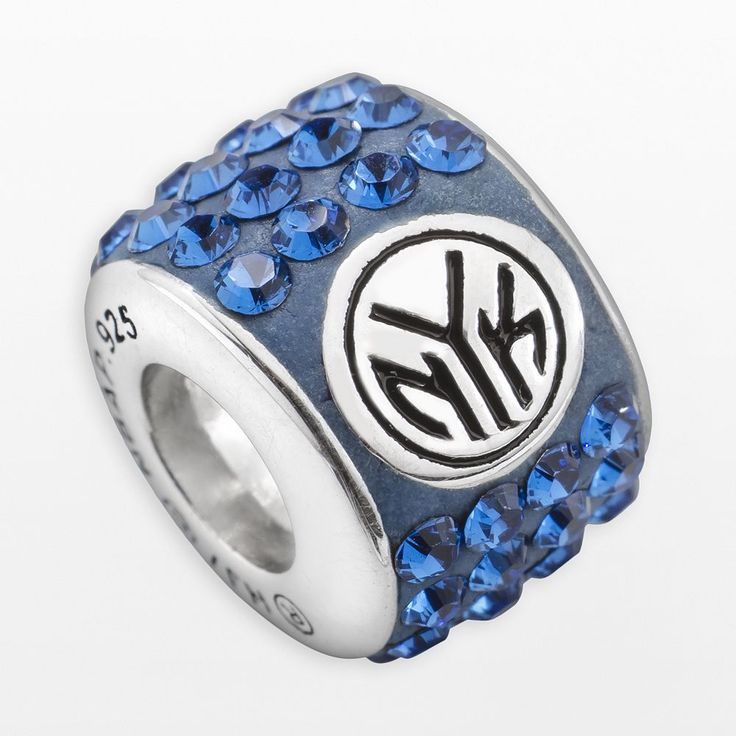 LogoArt New York Knicks Sterling Silver Crystal Logo Bead - Made with Swarovski Crystals, Women's, Blue