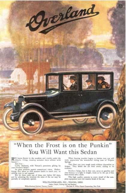 Overland Cars, USA (1920) I have chosen this one cuz this is what I see when I think about the cars back then
