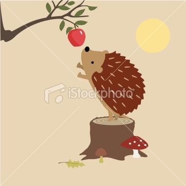Hedgehog Finds An Apple Royalty Free Stock Vector Art Illustration