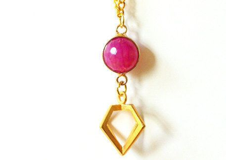 Pink Agate Gemstone Necklace - Agate Gold Necklace - Gemstone Necklace - Gold Gemstone Necklace - One of A Kind Necklace - Agate Gemstone £22