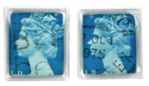 Queenie 1975 silver plate and re-purposed stamp cufflinks