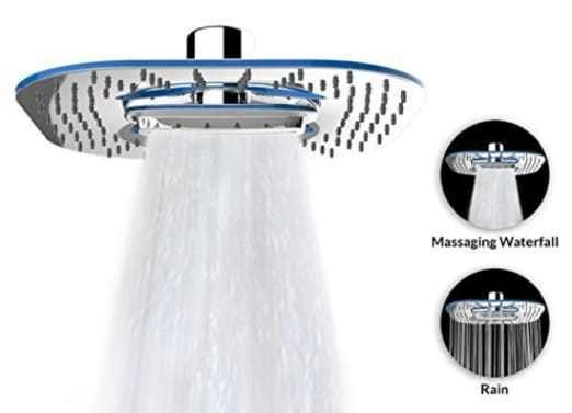 Waterfall Water Spray Luxury Large 8″ Shower Head / ABS Material Chrome Finish #FW