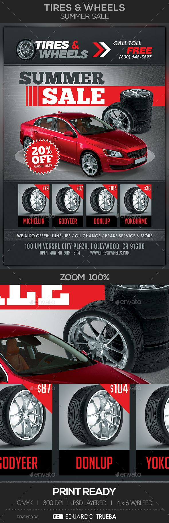 Tires & Wheels #Summer Sale #Flyer Template - Commerce Flyers Download here: https://graphicriver.net/item/tires-wheels-summer-sale-flyer-template/19478079?ref=alena994