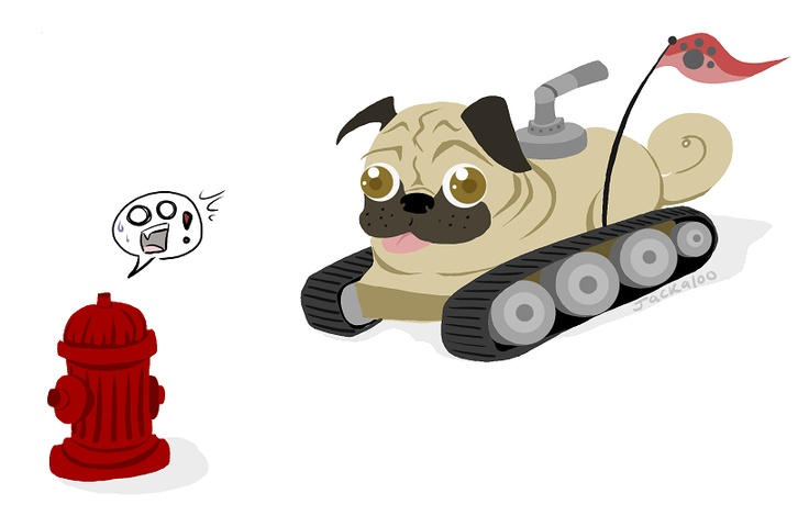 Somehow pugs are cuter as hydrant assault tanks.