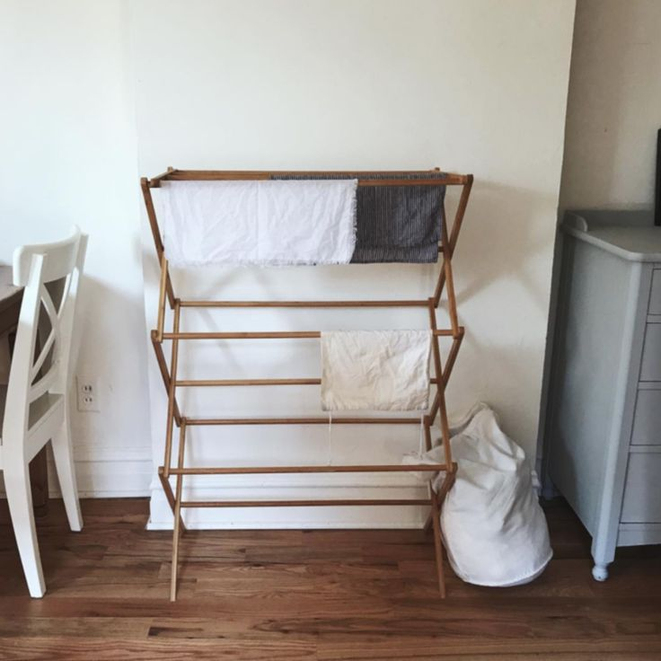 Bamboo drying rack for air-drying clothing, zero waste style