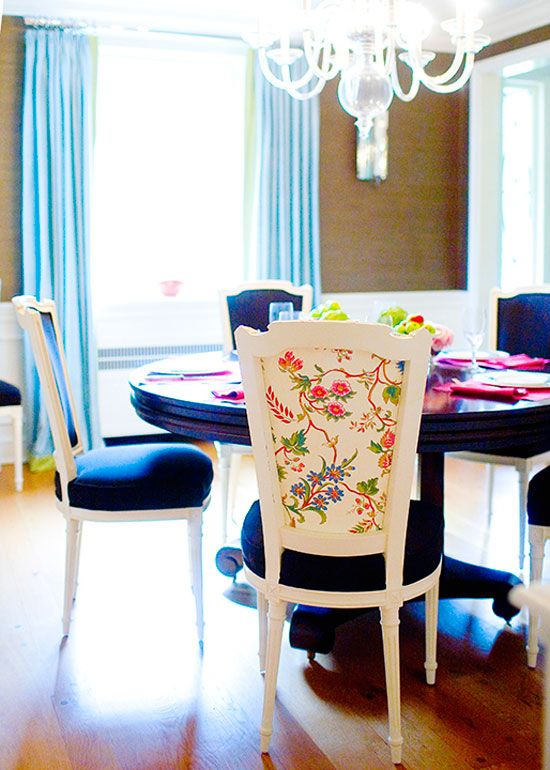 Indigo Blue Dining Chairs With Chinoiserie Backing L Mona Ross Berman Via Desire To Inspire