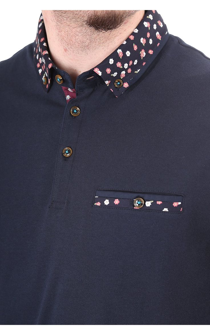 Ted Baker Mens Navy Sydnar Polo With Floral Collar   Blueberries