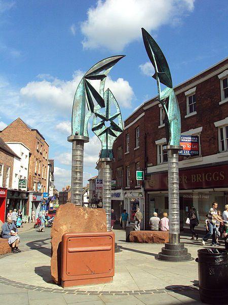 Darwin Memorial, Shrewsbury town centre, England.