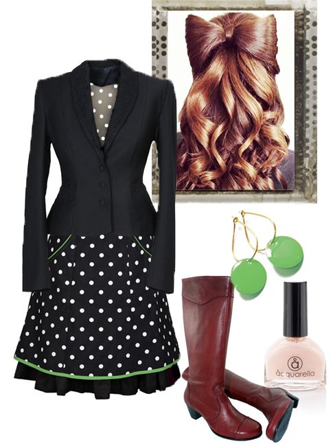 Working girl: In Ecoutures DOThea skirt with accessories: Our new green Dot earrings, boots from Martin Natur. We recommend Aquarella. the only truly safe nail polish that is both water-based and non-toxic.