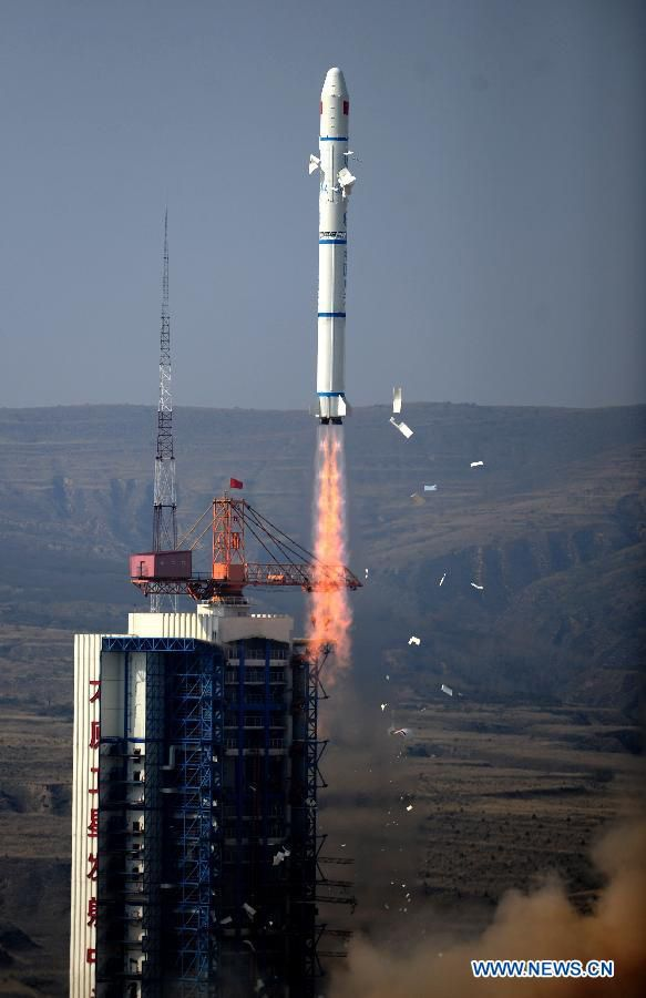China Launches Two Demonstration Satellites to Space | A Long March 2C rocket carrying two satellites blasts off from the Taiyuan Satellite Launch Center in China on Oct. 14, 2012.