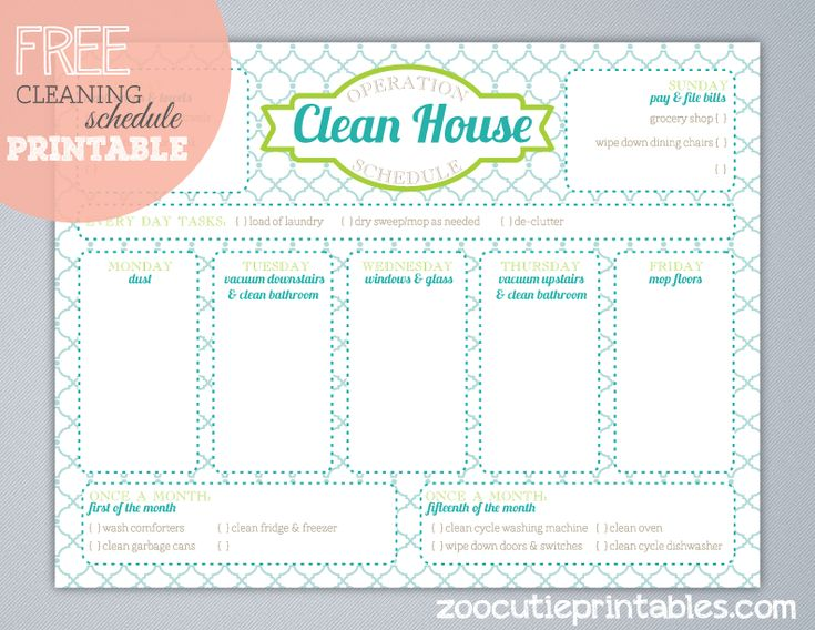 Free Operation Clean House Printable www.247moms.com #247moms
