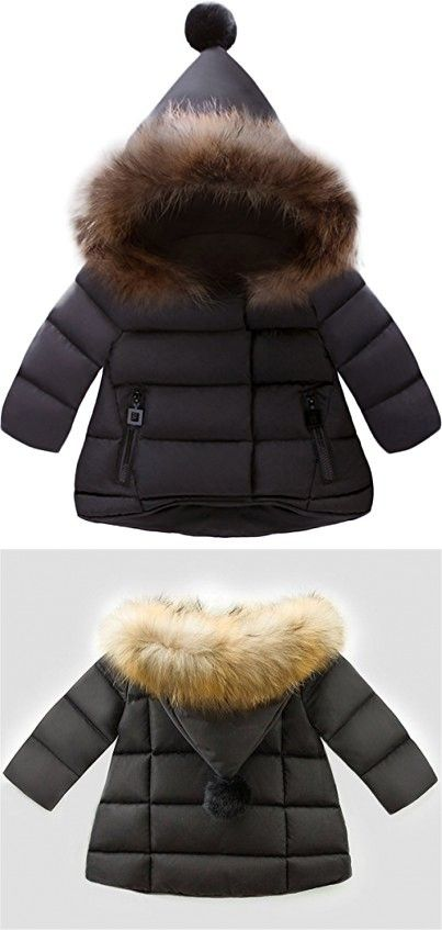 502a80618 Winter Kids Snowsuit Baby Girls Coat Infant Fur Collar Hooded Thick ...