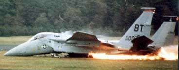 F-15A Eagle crash landing at Bitburg Air Base, Germany.