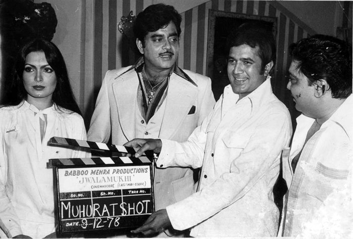 "beautifiedthisworld: "" Parveen, Shatrughan and Rajesh on set of ""Jwalamukhi"" """