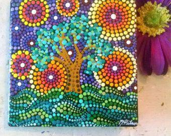 Arte colorido Original pintura arte cerámico/firmado / punto arte / Whimsical árbol / única pintura / 4 x 4 cuadrado / piedra pintada