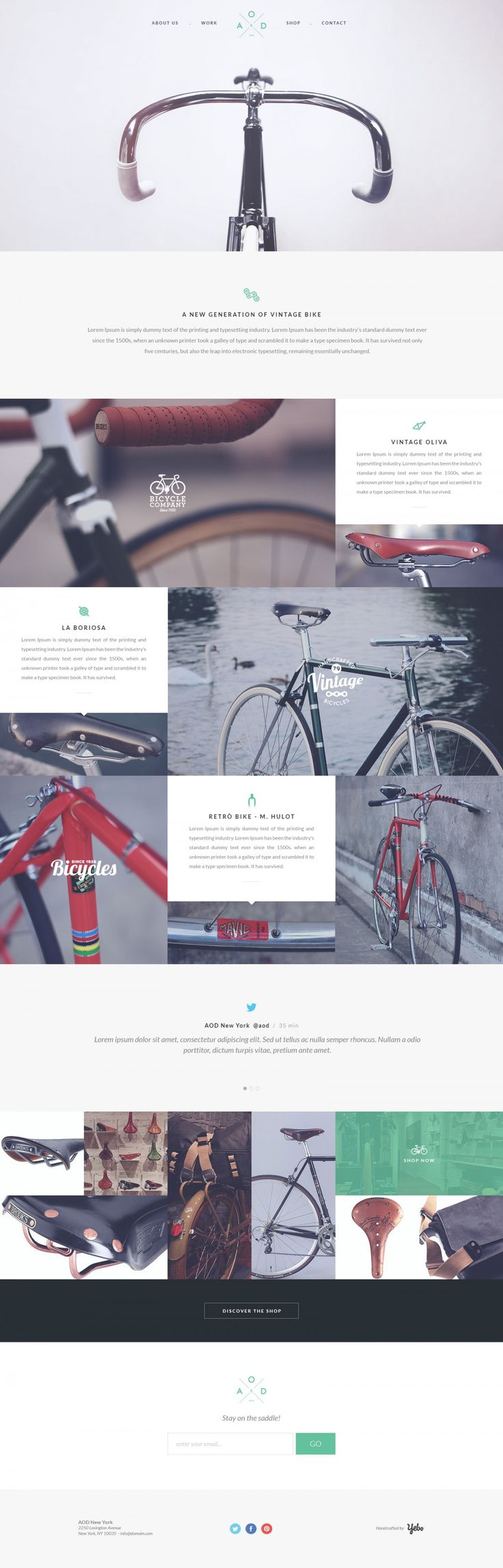 "flat, milky, nice, bikes ""Bicycle Single Page Flat Website Template #grafica #web #bici"""