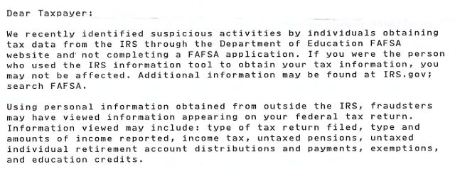 Taxpayers Personal Information Was Stolen From The Irs