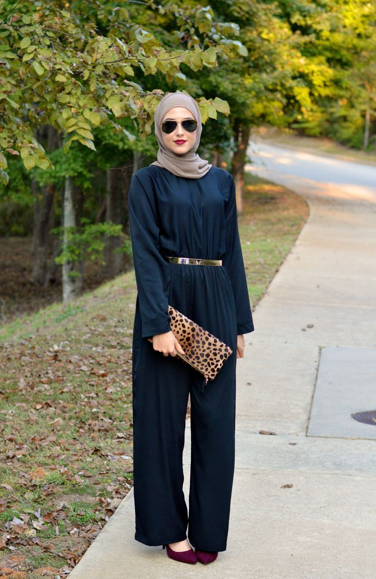 How to wear jumpsuit with hijab, Winter hijab street styles by leena Asaad http://www.justtrendygirls.com/winter-hijab-street-styles-by-leena-asaad/