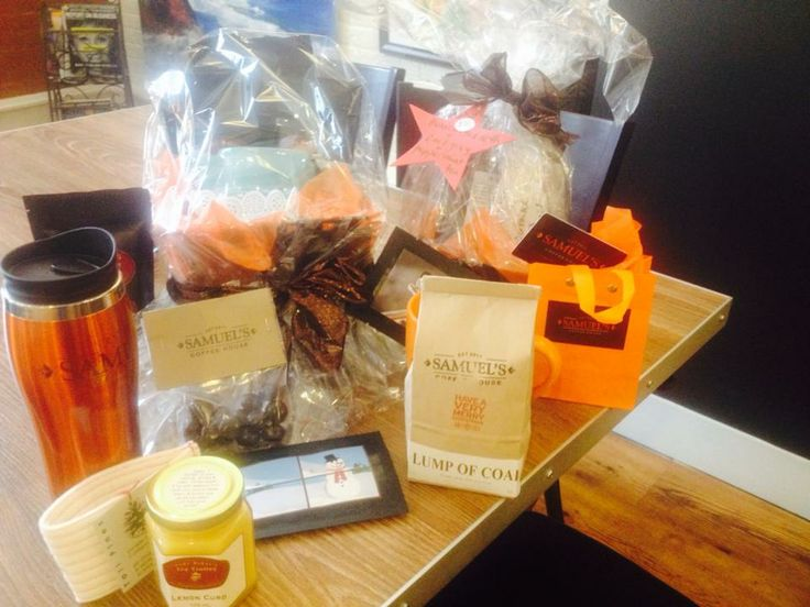 Samuel's Coffee House in Summerside is putting their gift baskets together. They have gift packs from $10- $100. Tea, coffee, chocolates, mugs, pots, cup cozies & more. Message them if you would like a custom basket! — in Prince Edward Island. http://peiflavours.ca/index.php/flavours-trail/listing/Samuels-Coffee-House/