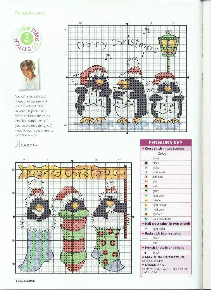 Cross-stitch Christmas Penguins