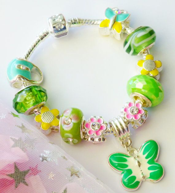 green charm bracelet Butterfly pendant charm  bag by JewlsGifts