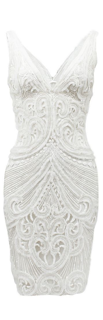 Naeem Khan ● Beaded Party/Cocktail Dress. Perfect for engagement party | We Know How To Do It