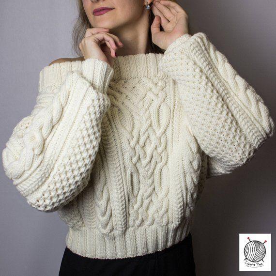 Women's Hand Knitted White Sweater, Oversized Sweatshirt