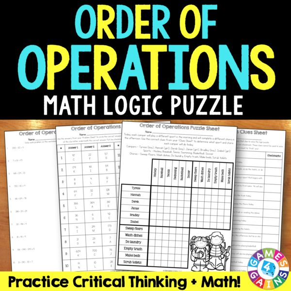 Order Of Operations Logic Puzzle  5 Oa 1