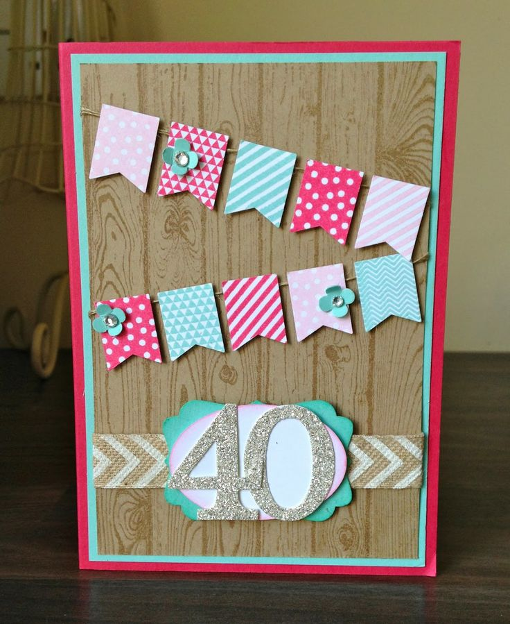Julie's fun birthday card features Banner Blast & its punch (SAB), Hardwood, Typeset Alpha & Numbers die set, & more. All supplies from Stampin' Up!