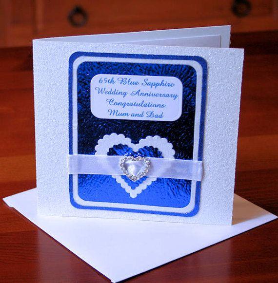 65th Blue Sapphire Wedding Anniversary Card by CardsbyCoralJean