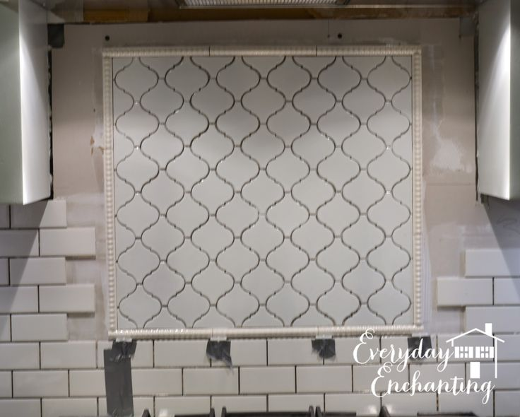 Project: Kitchen {Phase 1} Arabesque Backsplash Accent - Everyday ...   Subway tile with arabesque backsplash behind stove