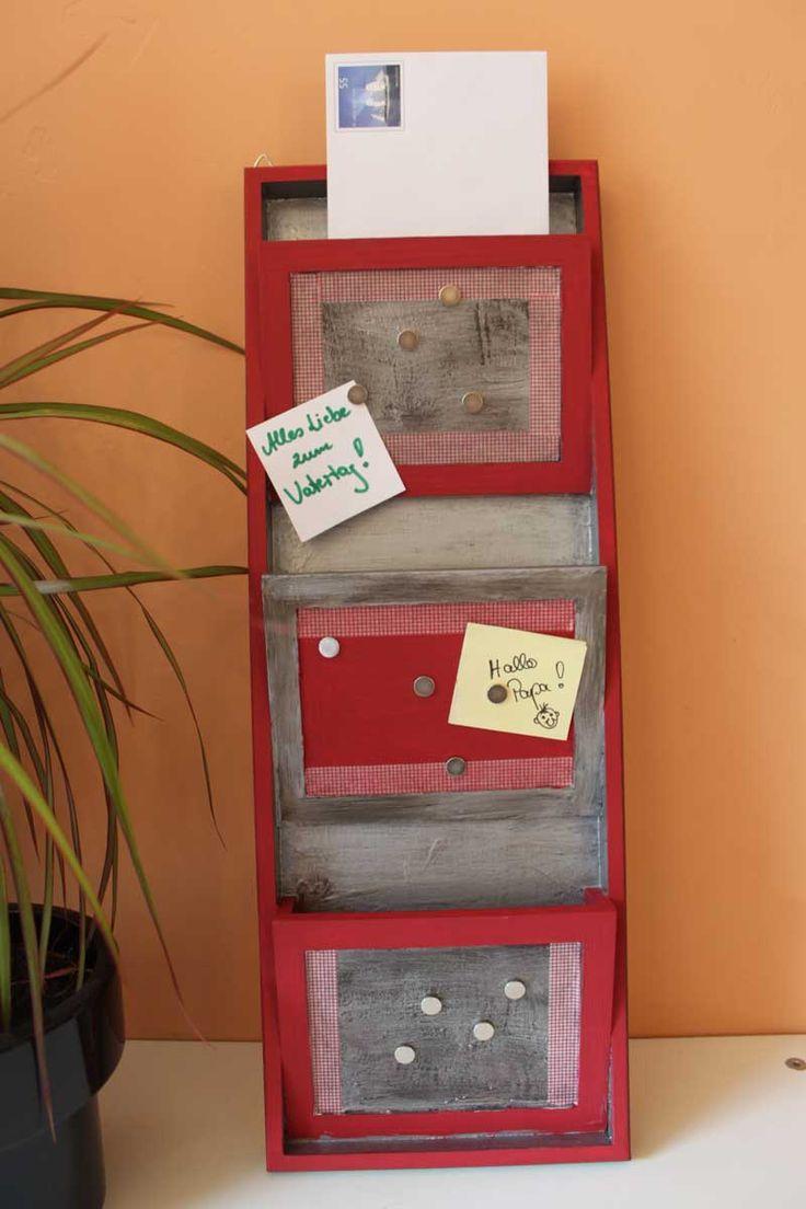 """Memoboard (Idee mit Anleitung – Klick auf """"Besuchen""""!) - Das praktische Memoboard mit Magnetflächen ist ein tolles Geschenk zum Vatertag! Und die Kinder haben beim Basteln bestimmt viel Spaß!"""