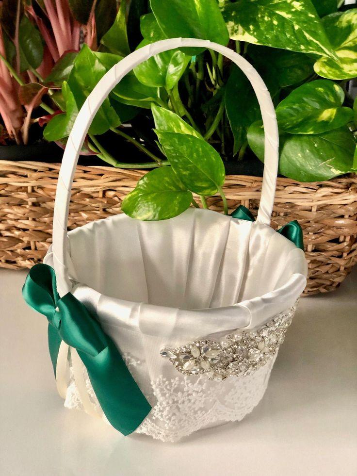 Emerald wedding basket flower girl basket green wedding