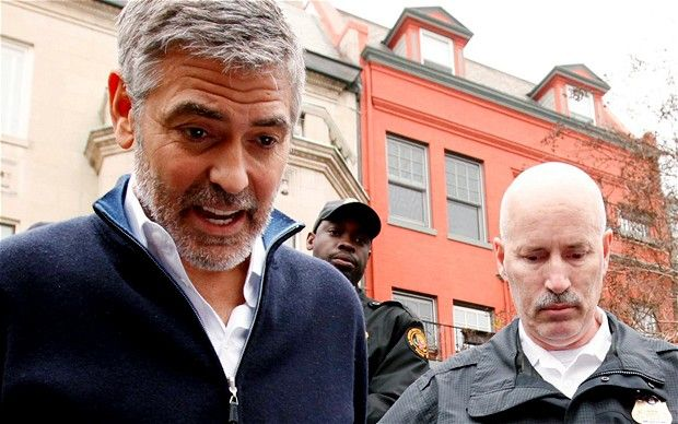 March 2012.  George Clooney is arresed for protesting about the  humanitarian crisis in Sudan.