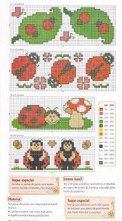 Lady bug cross stitch chart