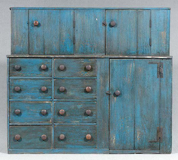 Step back cupboard in my favorite primitive blue paint....~♥~