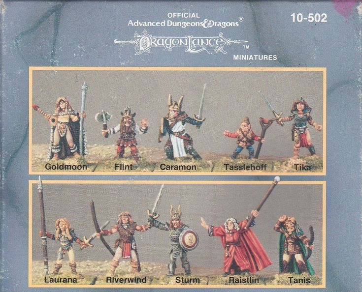 "Ral Partha AD&D Dragonlance Heroes, 1989 (sculpted by Tom Meier and Dennis Mize, box art ""The Companions of the Lance"" by Larry Elmore)"