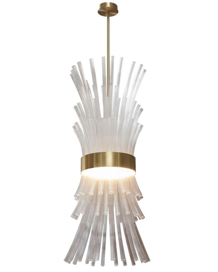 The flamingo pendant from wired custom lighting in satin brass and