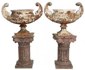 Pr. Large Cast Iron Urns On Marble Bases