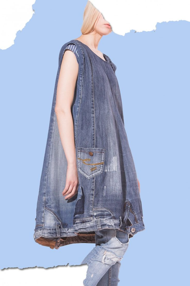 What!  Crazy #denim dress made from #repurposed #jeans.  #ecofashion #sustainablefashion