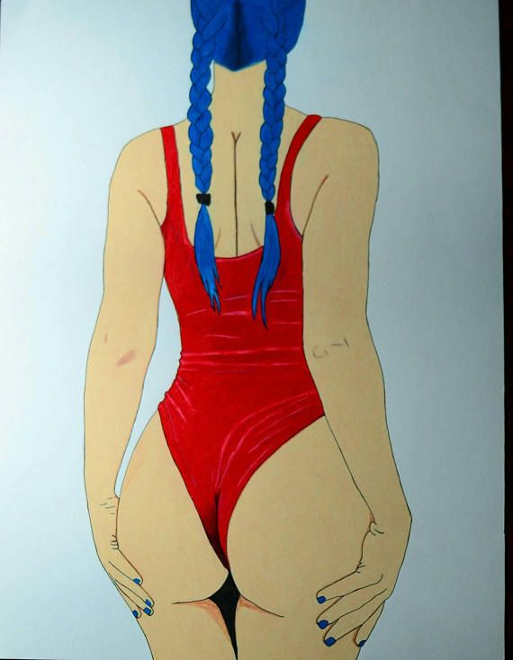 Drawing of a sexy bootyful girl in a red swimsuit. Drawn on 30x40cm thick paper using colored pencils and ink pen.