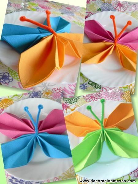 Mariposas con servilletas