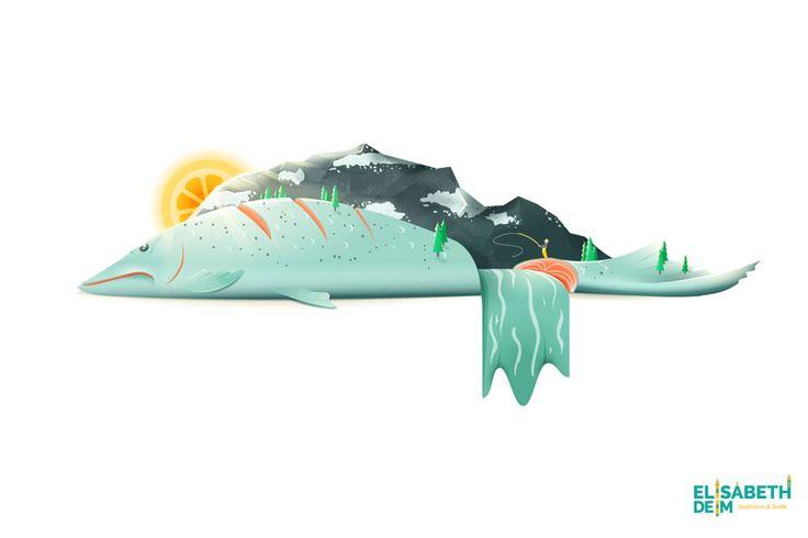 """Food Illustration Lachs """"Salmon River Hills"""" von ELISABETH DEIM"""