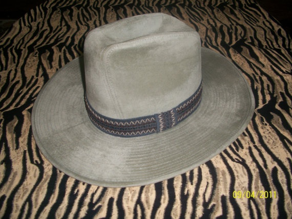 Vintage 1970s 70s cowboy 10 gallon hat western country wear light blue ... 10 Gallon Cowboy Hat Front