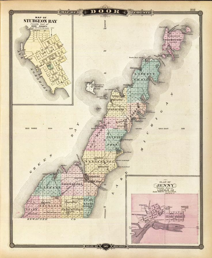 1878 Map of Door County, State of Wisconsin. (with) Map of Sturgeon - 341 Best DOOR COUNTY Images On Pinterest Bays, Biking And