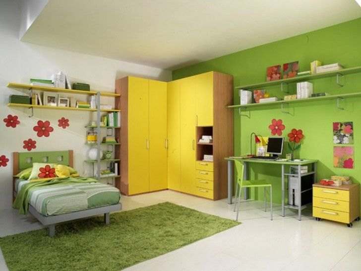 Yellow and Green Teenage Bedroom Color Ideas
